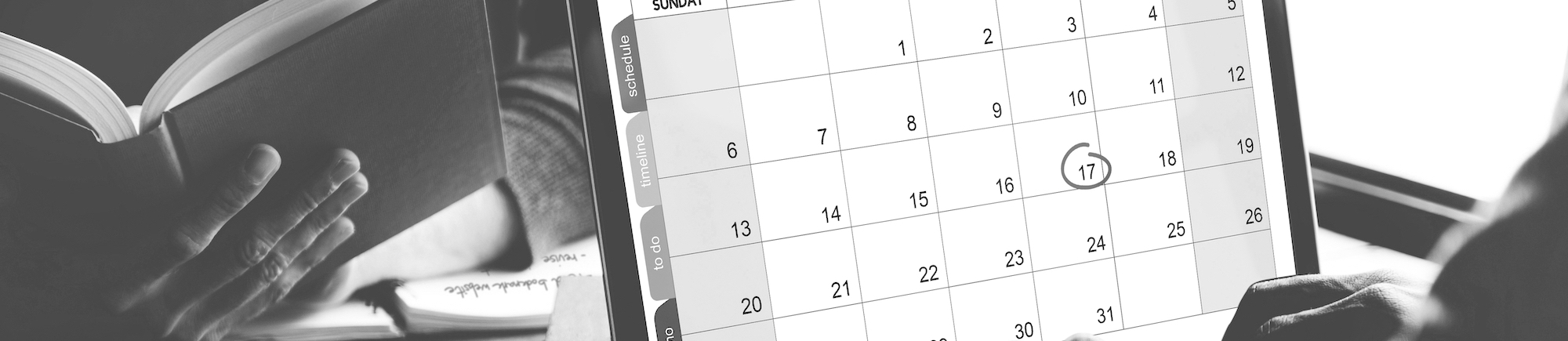 Closeup of computer laptop screen showing calenda with date and month
